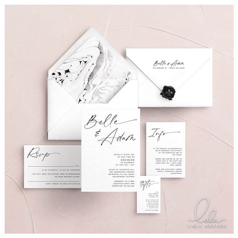 Studio Collection - Belle | Luxury wedding invitations - Perth WA