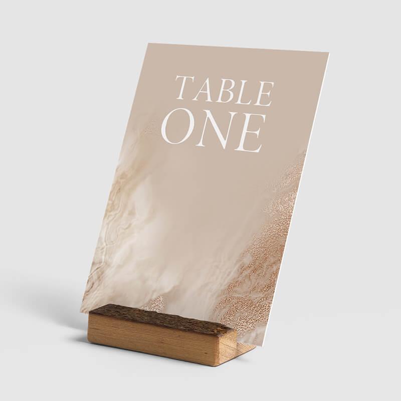 sandstone table number mock