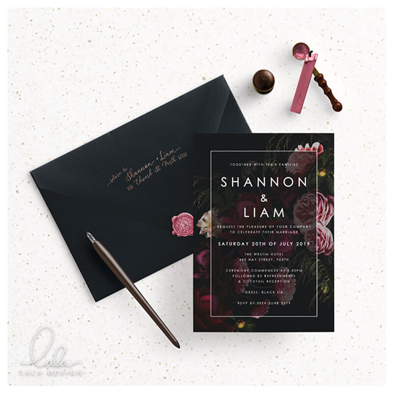 shannon-and-liam-invite-mock-moody-florals-lala-design-perth