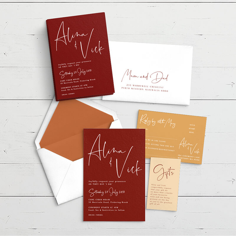 Studio Collection - Spiced Honey | Luxury wedding & event stationery - Perth WA
