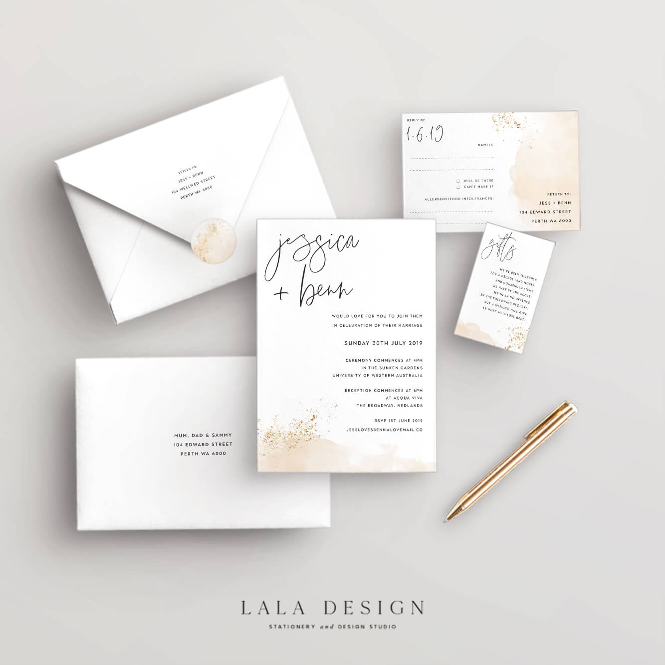 Wedding stationery full set | Gold Dust - Perth WA
