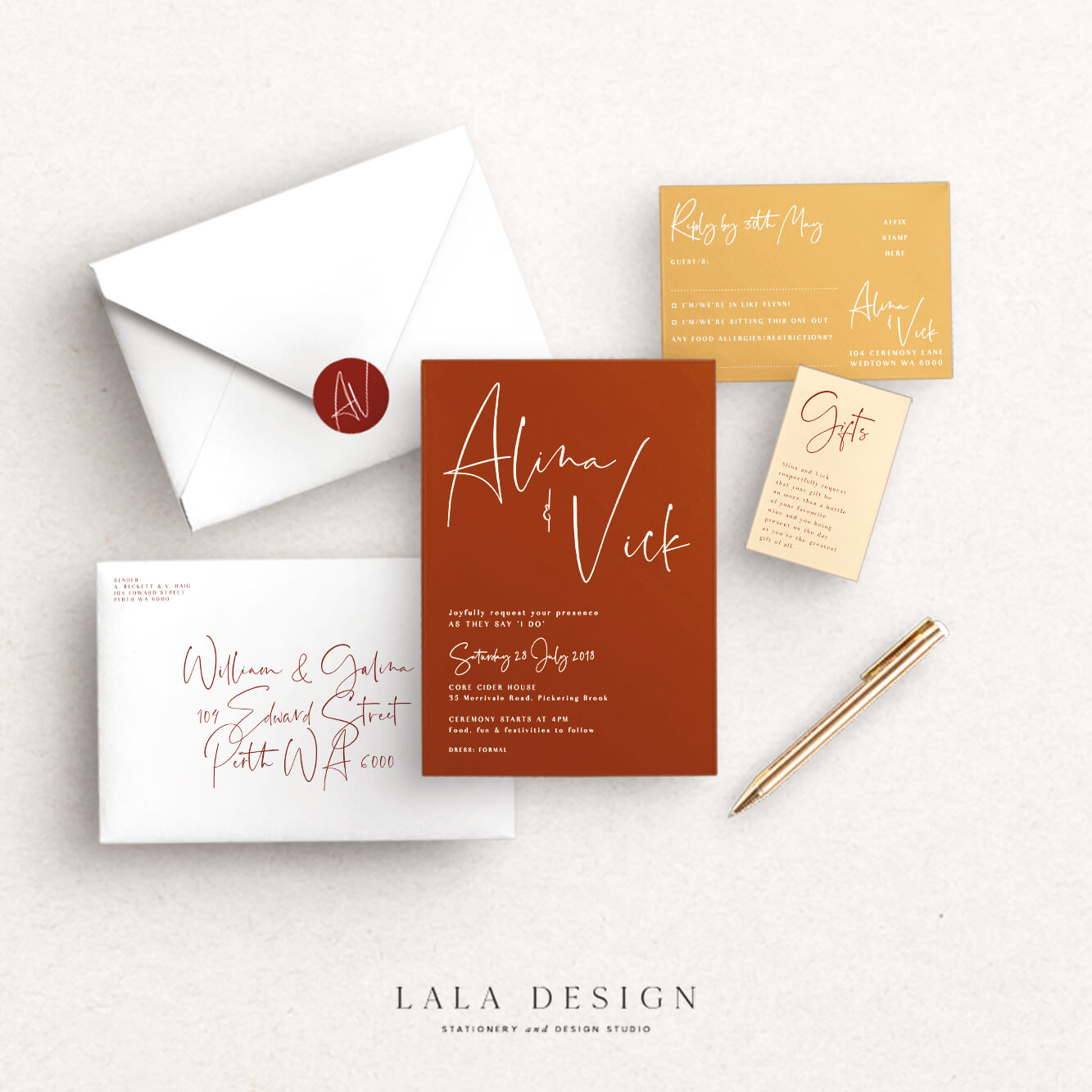 Wedding stationery full set | Spiced Honey - Perth WA