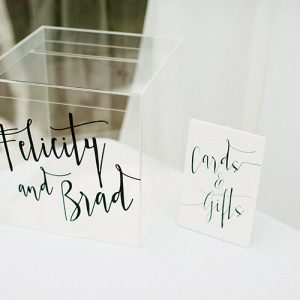 felicity and brad modern style clear acrylic wishing well box personalised with black font - lala desifgn 800x500