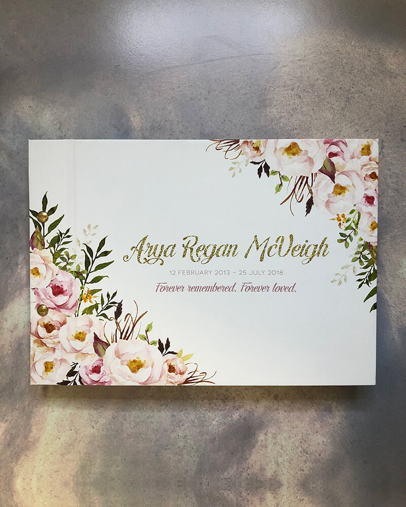 memorial guestbook-florals - arya -by-lala-design perth