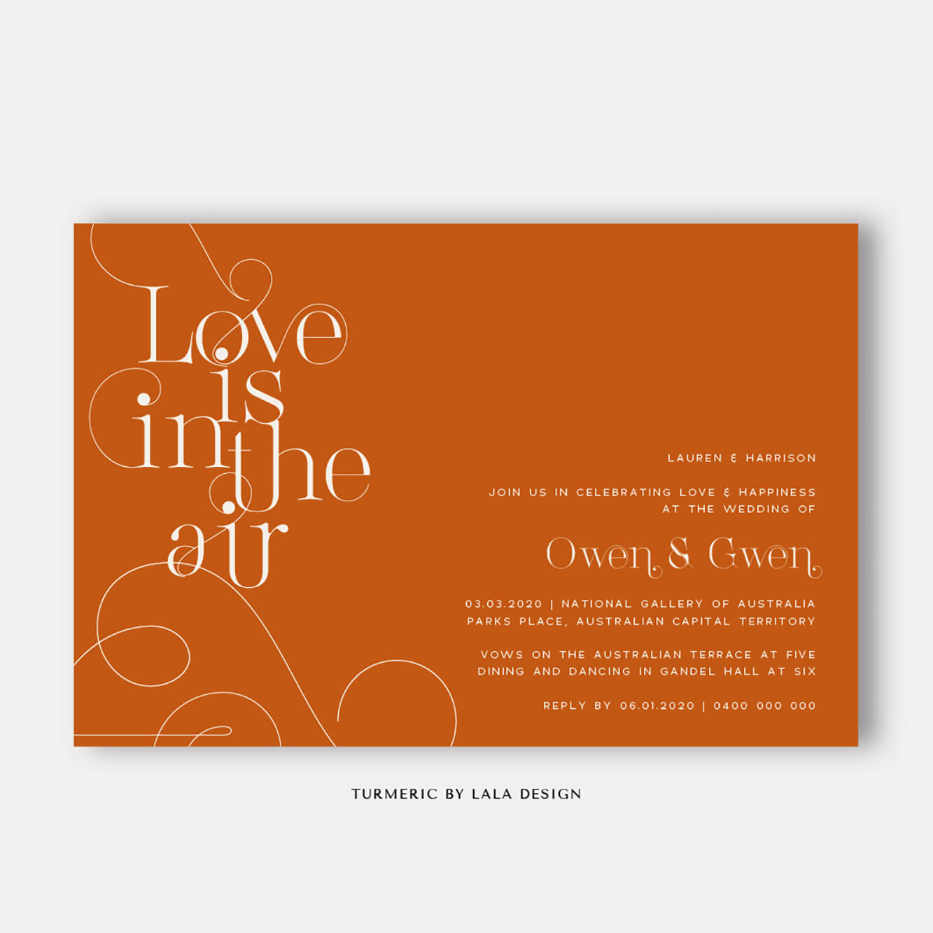 Wedding stationery full set | Turmeric - Perth WA