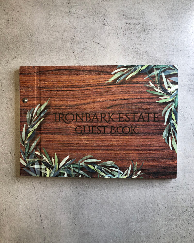 venue guestbook - iron bark brewery- wooden look cover-lala design perth