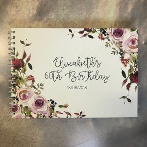 wedding engagement birthday guestbook-florals - elizabeth 60th -by-lala-design perth