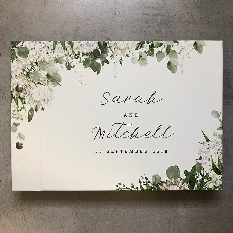 wedding engagement guestbook-bowen estate florals - sarah and mitchell -by-lala-design perth