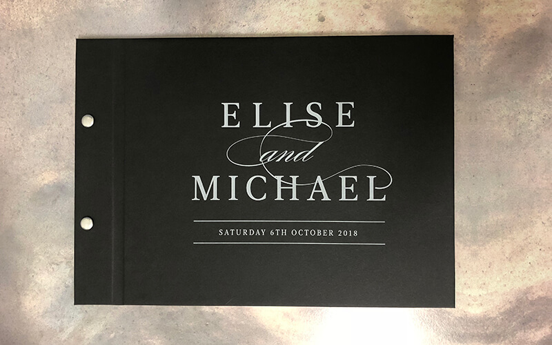 wedding engagement guestbook-elise and michael - black cover with white printing -by-lala-design perth