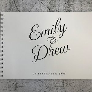 wedding engagement guestbook-emily and drew - white cover and black printing -by-lala-design perth