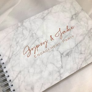 wedding engagement guestbook-marble cover with gold printing - gyspy and jake -by-lala-design perth