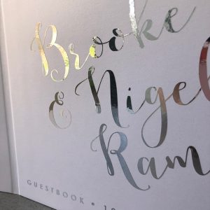 wedding engagement guestbook-white with silver foil- brooke and nigel -by-lala-design perth