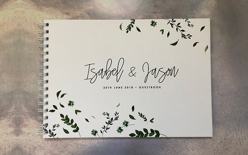 wedding guestbook-isabel and jason- falling leaves- by-lala-design perth