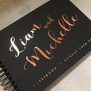 wedding guestbook-liam and michelle black and copper foil- by-lala-design perth