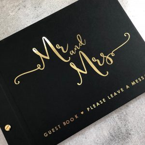 wedding guestbook-true romance-black and gold foil by-lala-design perth