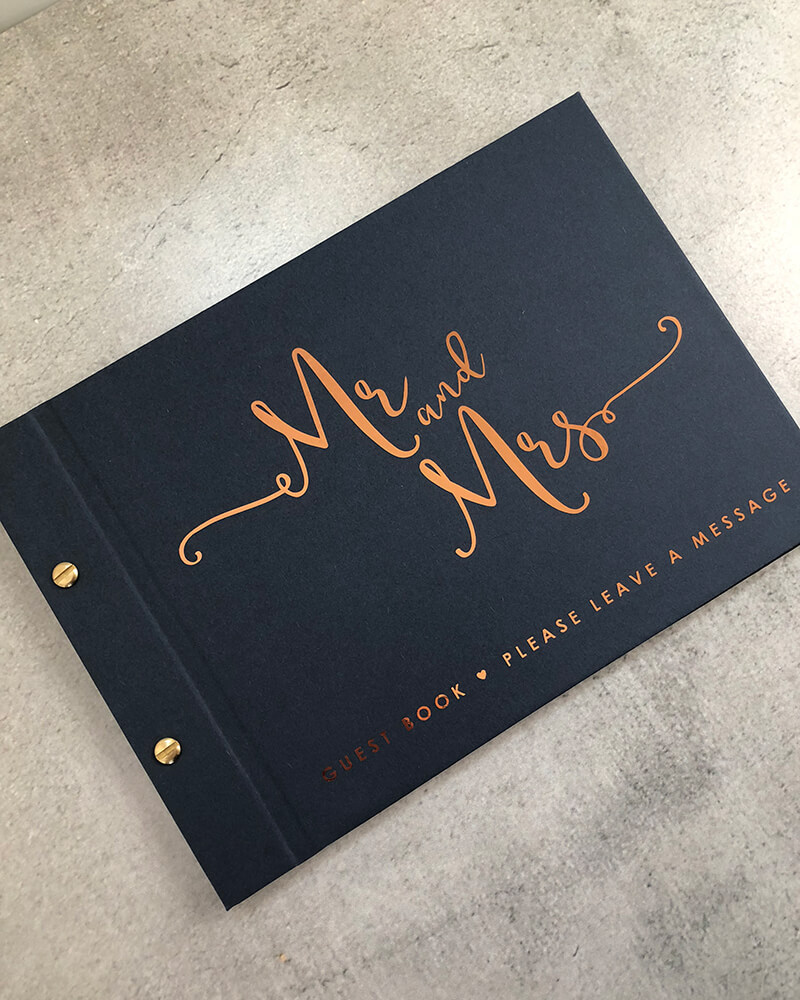 wedding guestbook-true romance-navy and copper foil by-lala-design perth