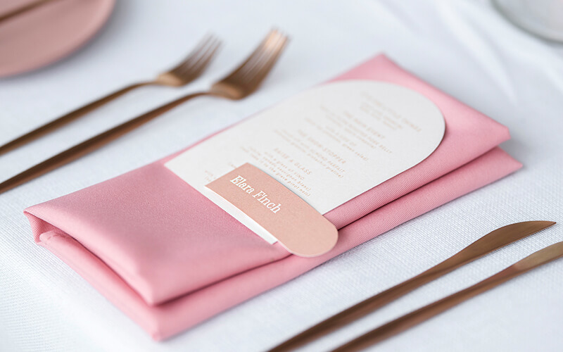wedding guests menus- arch ivory menu with skinny placecard name tag-ivory and blush wedding- acqua viva open day 2019-lala design perth