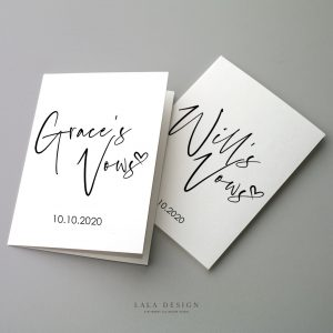 Personalised Vow Cards/Books - Set of 2 - Thorne LALA DESIGN PERTH