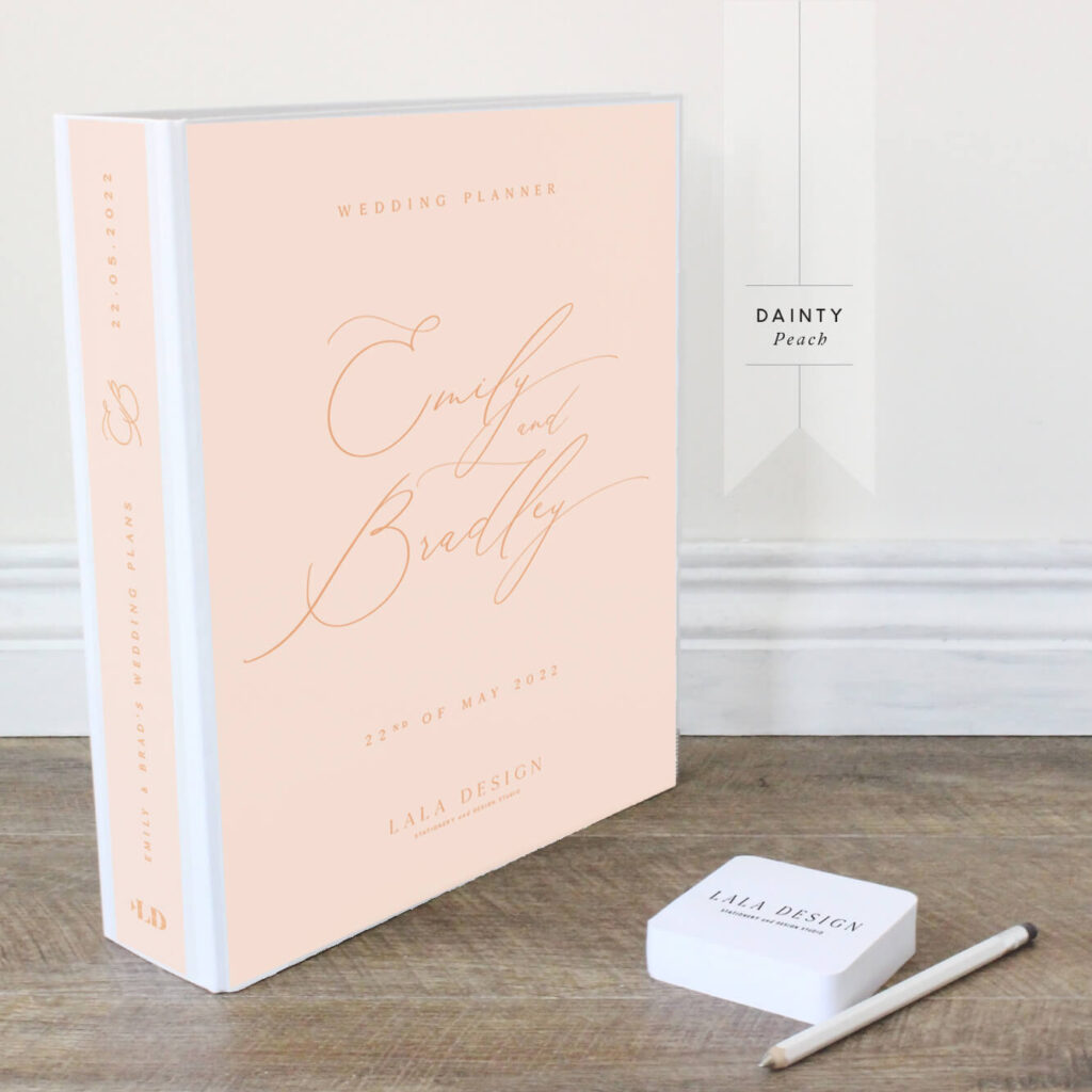 Dainty Wedding Planner File - Peach with wafer text - Lala Design Perth