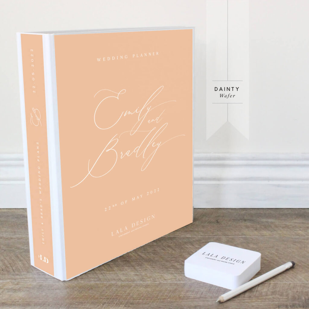 Dainty Wedding Planner File - Wafer with white ink - Lala Design Perth