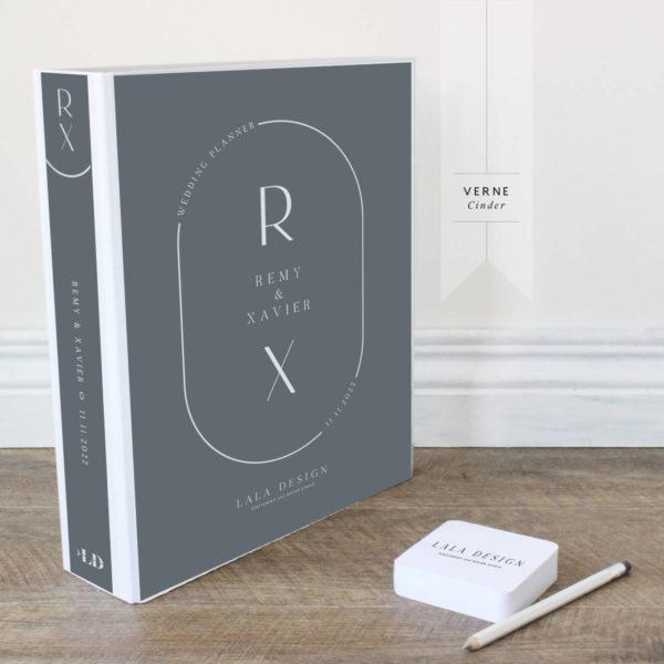 Verne Wedding Planner File - white ink on cinder grey - Lala Design Perth