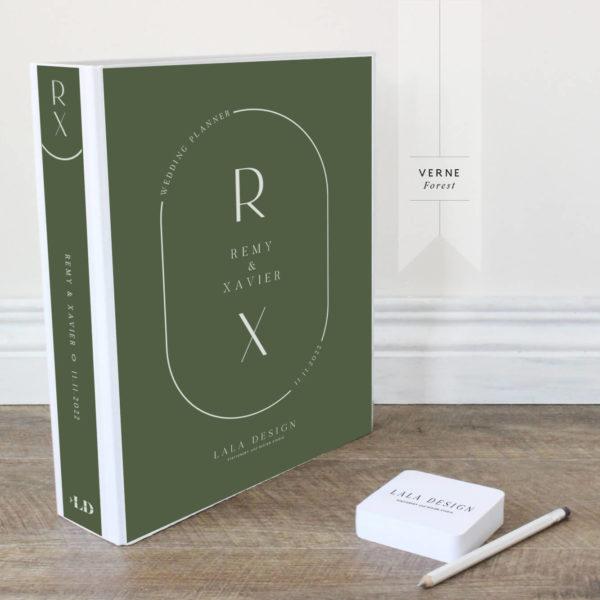 Verne Wedding Planner File - white ink on forest green - Lala Design Perth