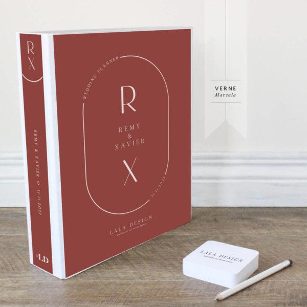 Verne Wedding Planner File - white ink on marsala - Lala Design Perth