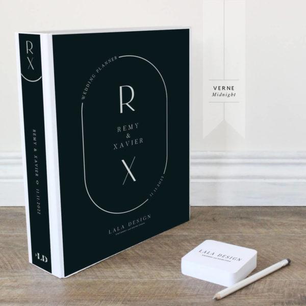 Verne Wedding Planner File - white ink on midnight black - Lala Design Perth