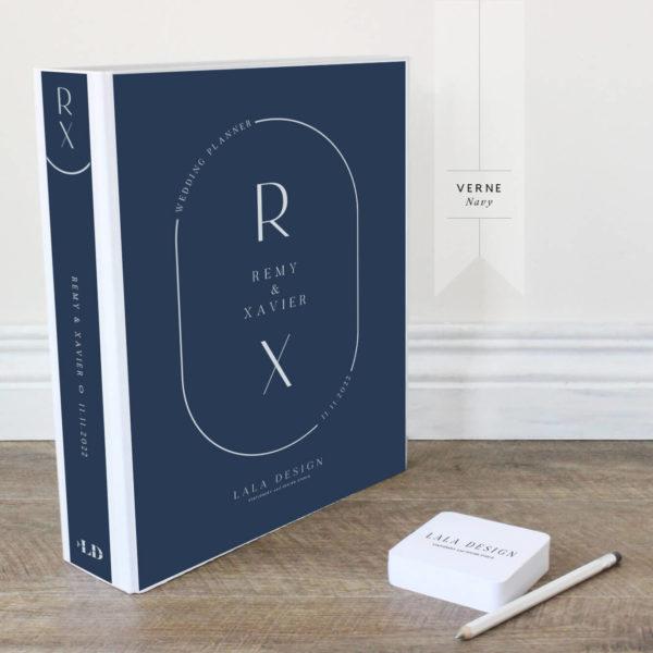 Verne Wedding Planner File - white ink on navy - Lala Design Perth