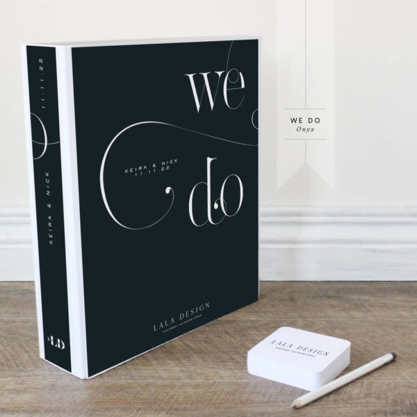We Do Wedding Planner File - Onyx black with white text - Lala Design Perth
