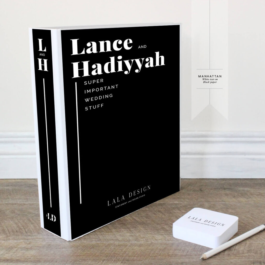 Manhattan Wedding Planner File - White on Black | Lala Design Perth WA