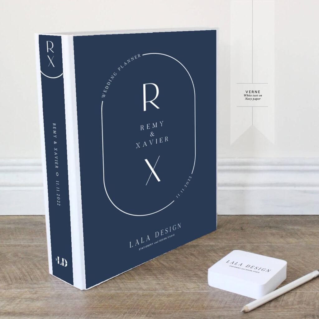 Verne Wedding Planner | Lala Design Perth WA | White text on navy paper
