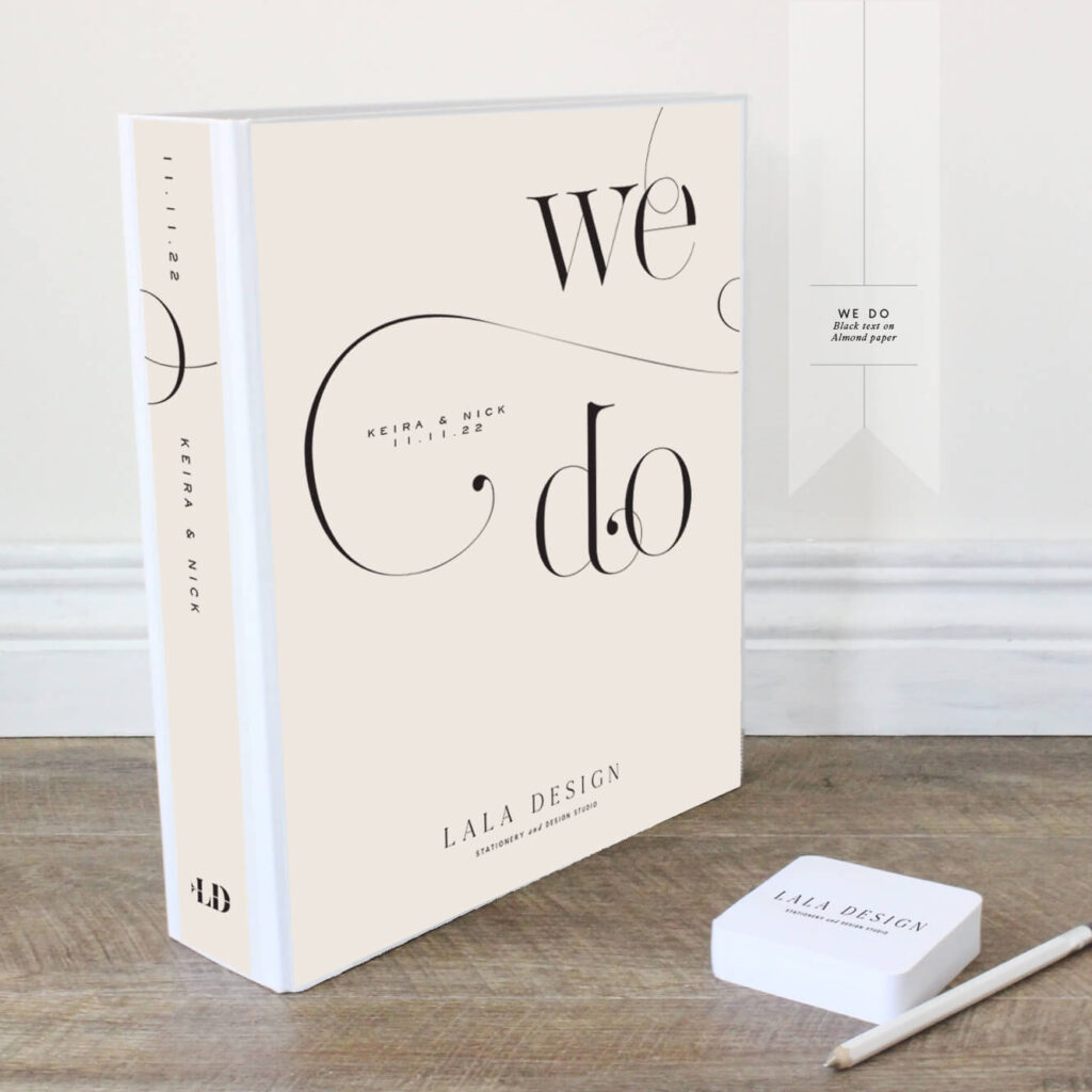 We Do Wedding Planner | Lala Design Perth | Black text on almond paper