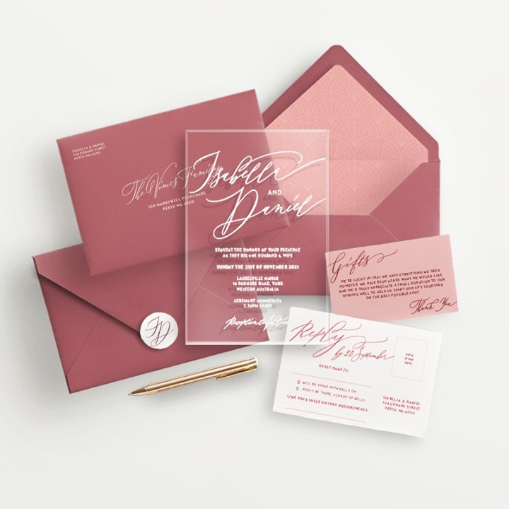 Acrylic Wedding Invitations - Lala Design Perth WA