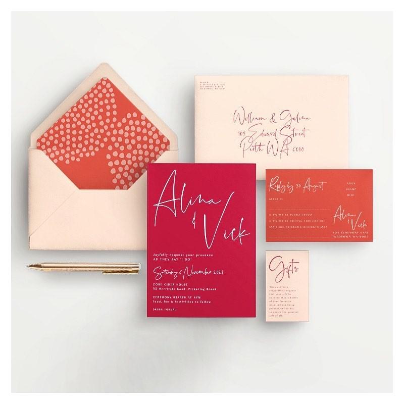 Bold & Bright wedding invitations - Lala Design Perth WA