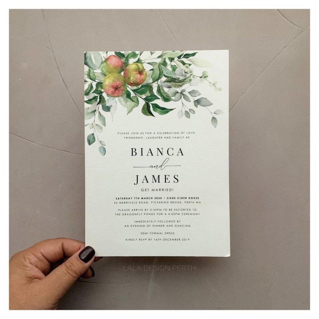 Personalised Illustration Wedding Invitations - Lala Design Perth WA