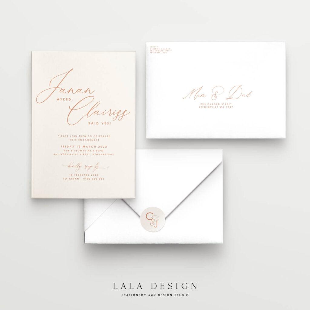 Clairiss engagement invitations   Luxury wedding stationery - Perth WA