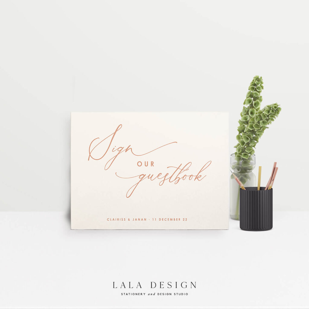 Guestbook signage | On the day stationery Perth WA
