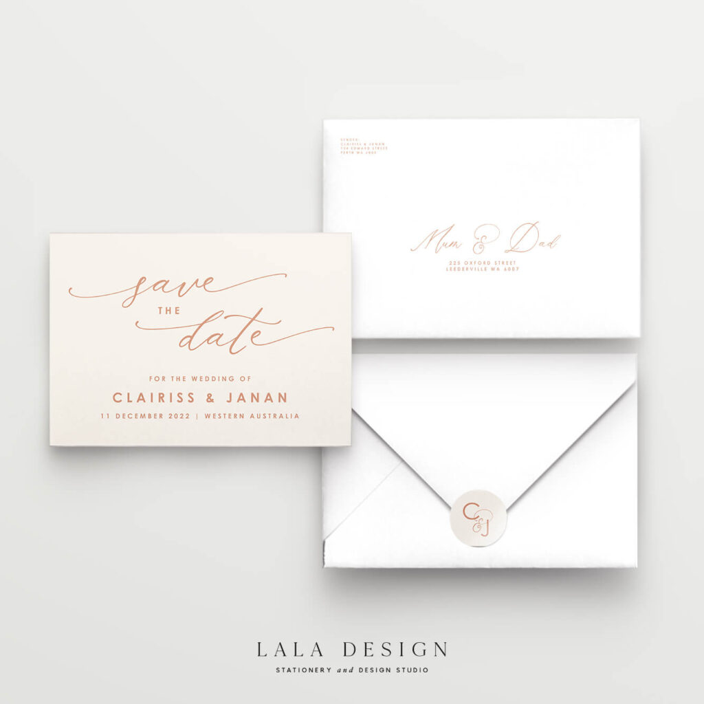 Save the Date Cards | Premium wedding stationery you can order now - Lala Design Perth WA