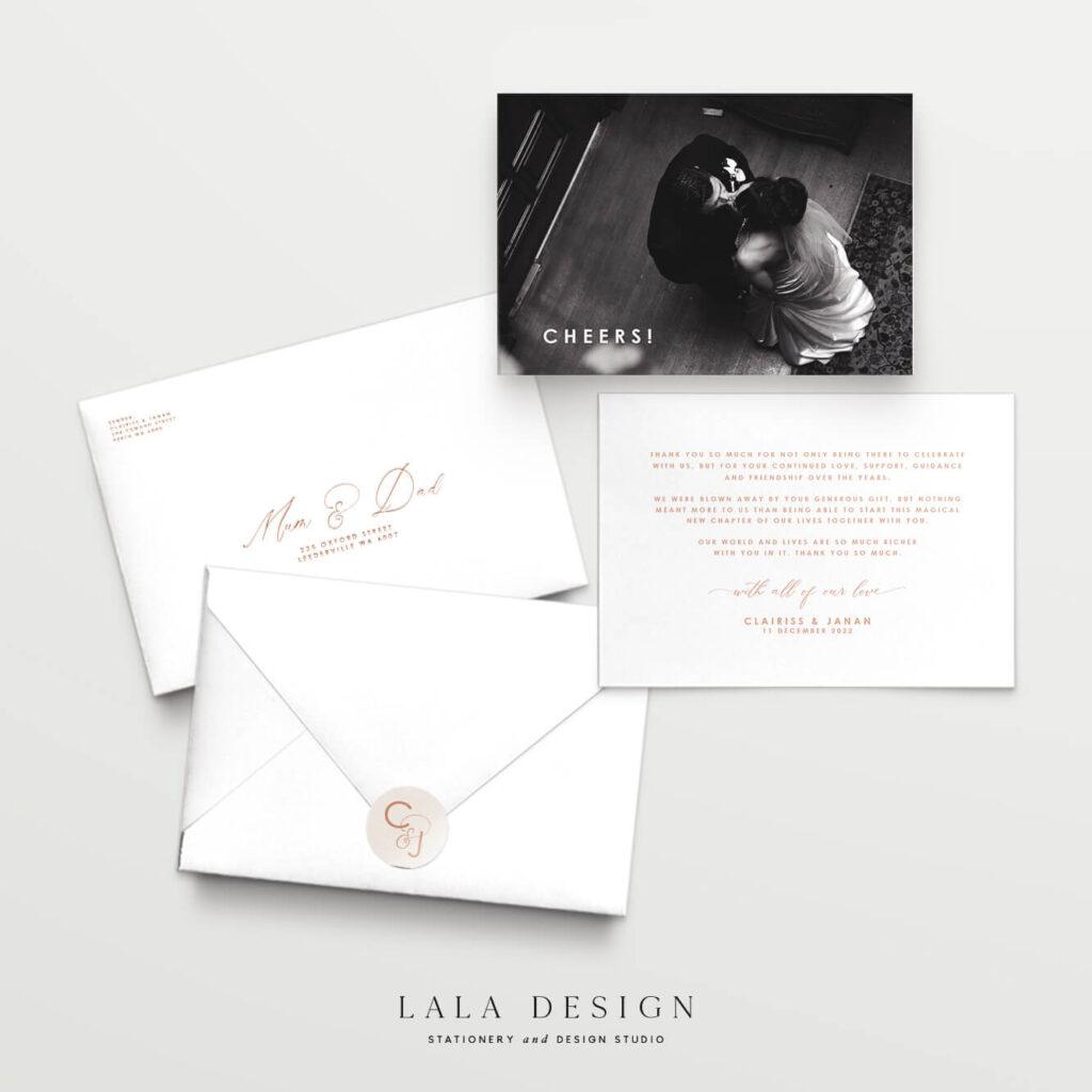 Luxury wedding thank you cards | Wedding stationery Perth WA