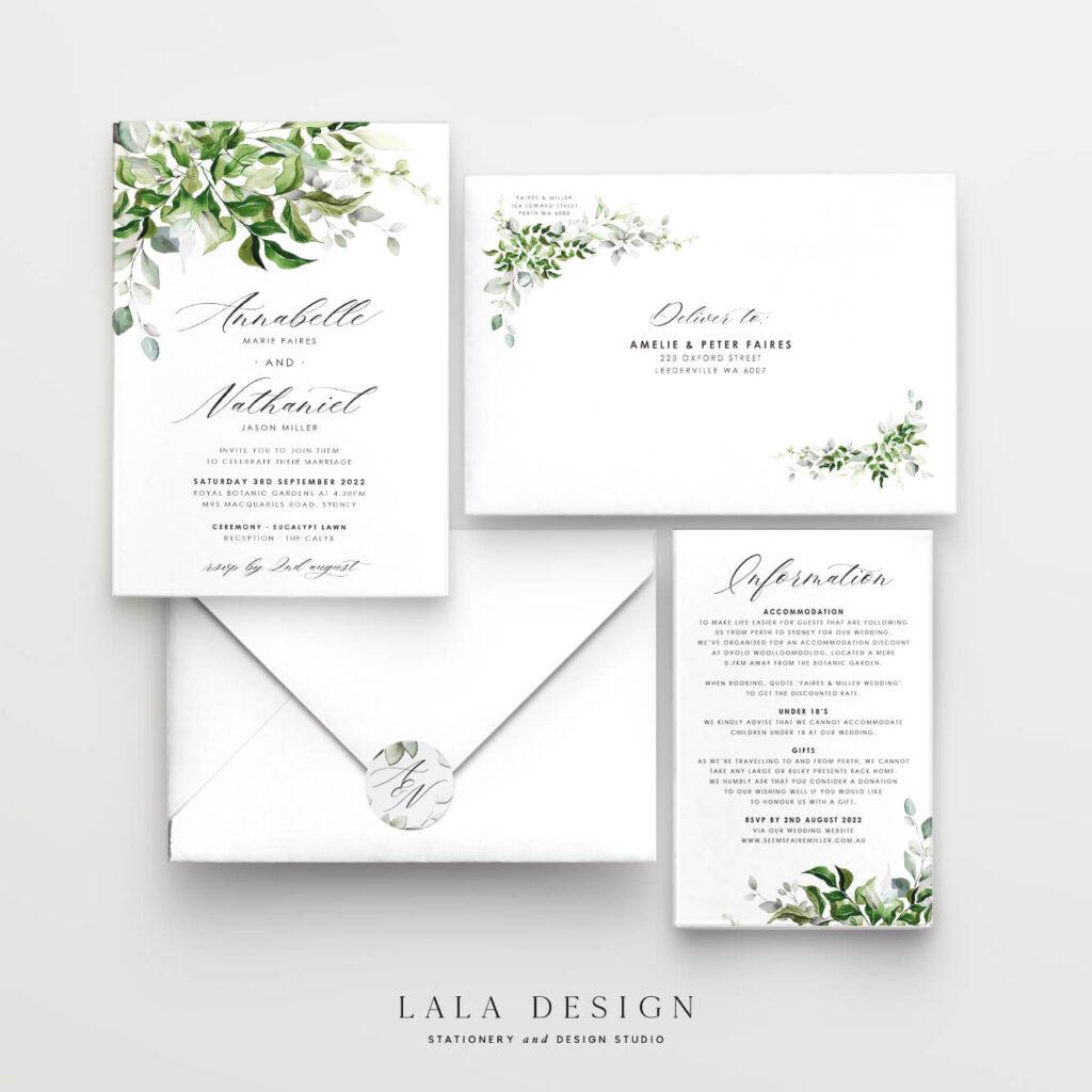 2 Piece Wedding Invitation Set | Wedding Stationery - Perth WA