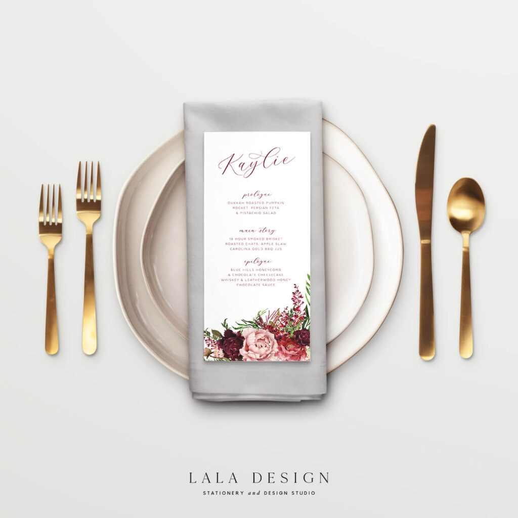 Personalised Menu Cards