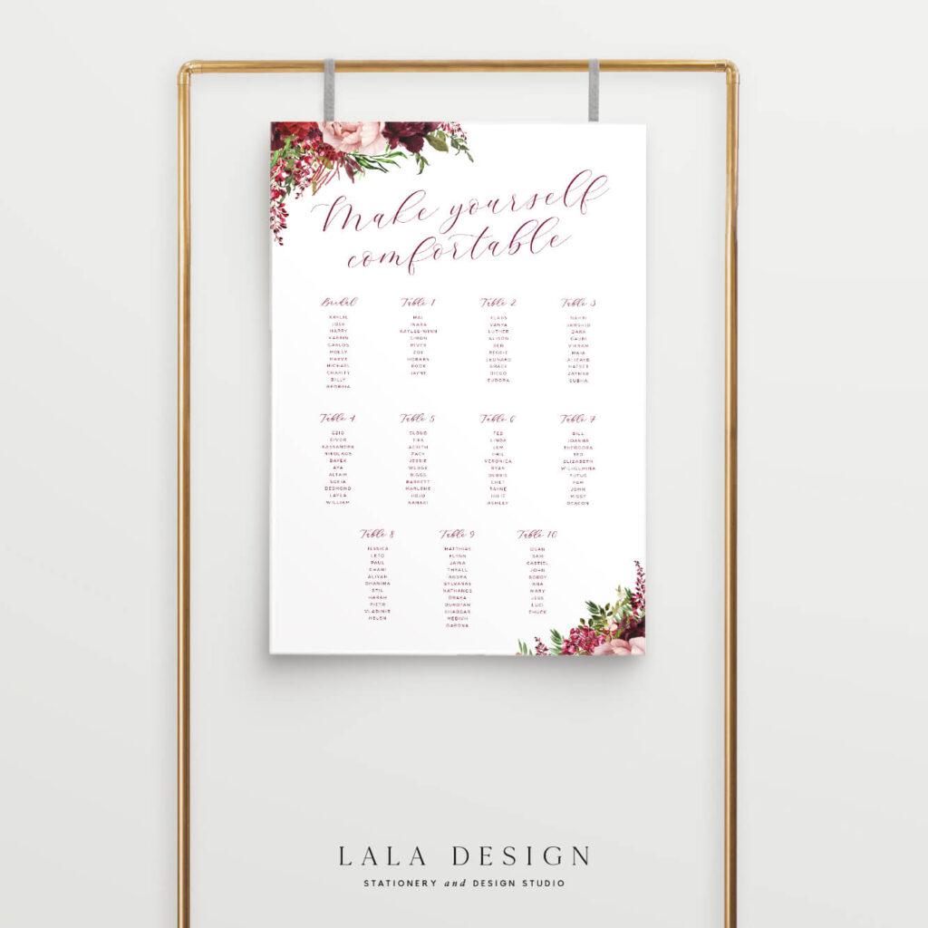 Luxury personalised wedding seating plans | Wedding stationery - Perth WA