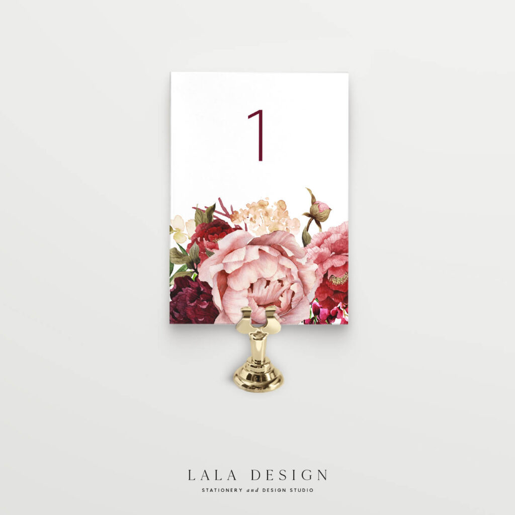 Floral table numbers | Wedding signage & stationery - Perth WA