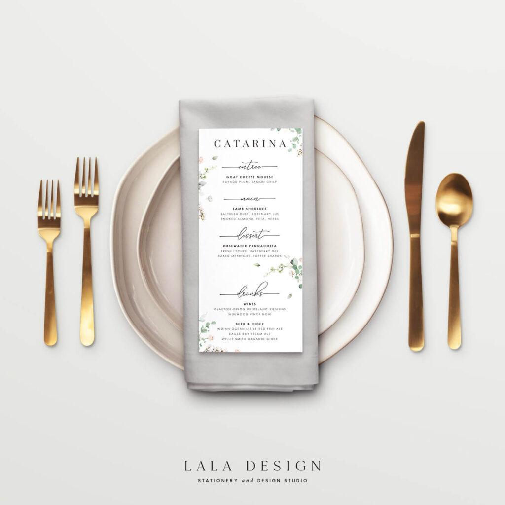 Personalised menu cards   Wedding Stationery Perth WA