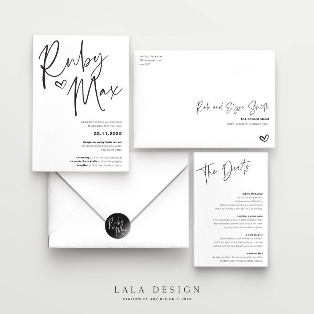 Wedding invitation 2 piece set - Thorne - Lala Design Perth WA