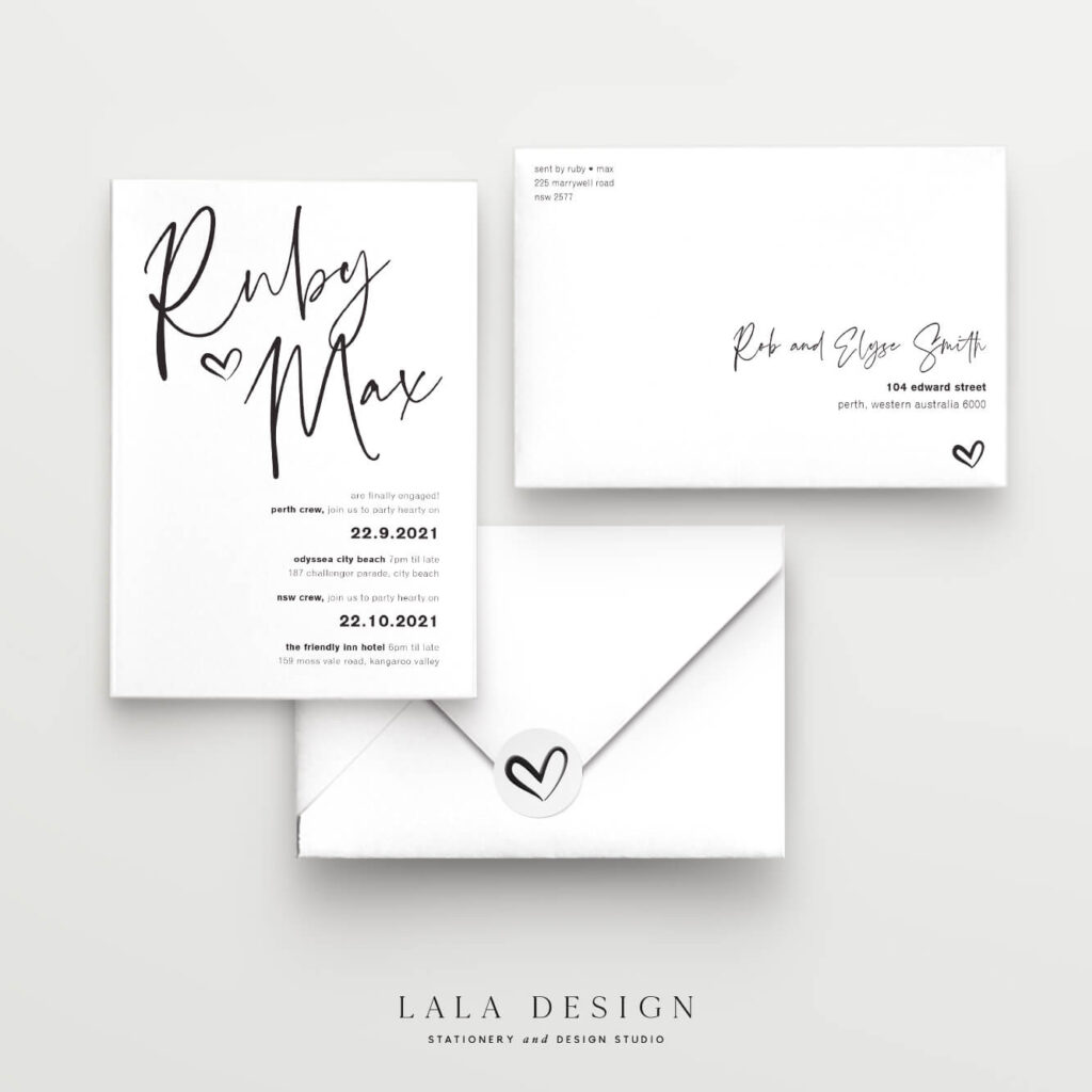 Engagement invitations - Thorne - Lala Design Perth