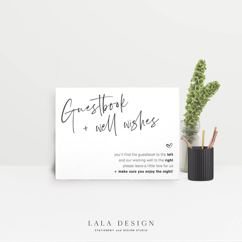 Guestbook/Wishing Well Sign - Thorne - Lala Design Perth WA