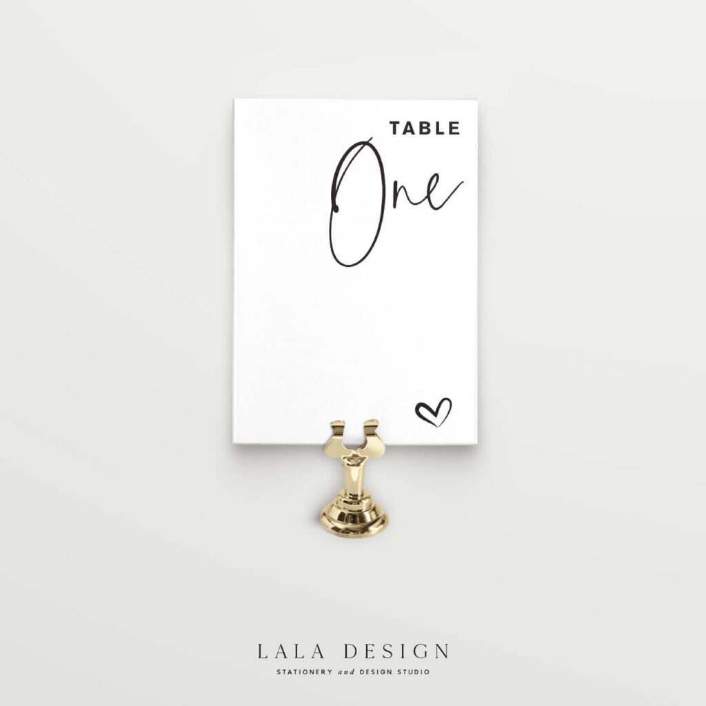 Table numbers - Thorne - Lala Design Perth WA