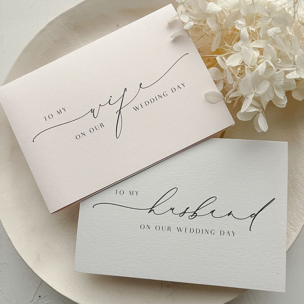 Silk design vow card set - To My Wife & To My Husband- Lala Design Perth WA